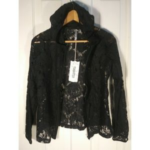 NWT hooded lace black floral roses hoodie zipper
